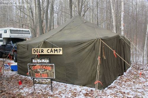 First year for a military surplus wall tent. Pictured are Rose John Little Beef. In memory of Mike Herald and Roy & Ee-Ya-Kee Deer Camp 2014