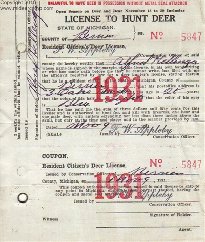 Michigan deer hunting history for Michigan non resident fishing license