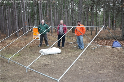 We set up our tent with an aluminum frame. This fame is built out of electrical conduit and connected with angle kit also made by Reliable Tent and Tepee. & Wall Tent Guide